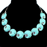 Beautiful Lisner Blue Celluloid and Rhinestone Feather Necklace