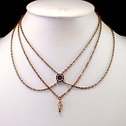 "50"" Victorian Watch Chain with Ruby Seed Pearl Slide"