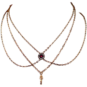 """50"""" Victorian Watch Chain with Ruby Seed Pearl Slide"""