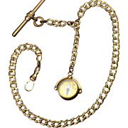 Heavy Ornate Victorian Watch Chain with Compass Fob