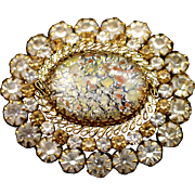 Large Vintage Austria Domed Confetti Glass Brooch with Clear and Amber Rhinestones