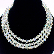 "Retro 52"" Sterling Chain Strung Aurora Crystal Necklace"