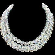 "Retro 52"" Sterling Chain Strung Aurora Crystal Necklace"