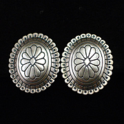 Unique Coin Silver and Sterling Taos Arts Concho Earrings