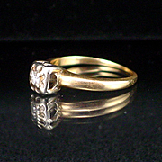 Art Deco 14k Yellow and White Gold Diamond Solitaire Ring Size 4-1/2