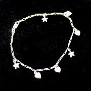 "Estate Italian Sterling 10"" Puffy Hearts and Stars Charm Bracelet"