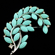 SALE Large Signed Lisner Blue Lucite and Clear Rhinestone Leaves Brooch Pin