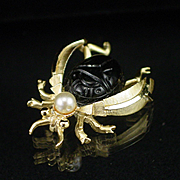 SALE PENDING Unique BSK Bug or Bee Pin with Molded Glass Scarab Body
