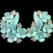 SALE Stunning Signed Lisner Blue Lucite Rhinestone and Enamel Flower Earrings