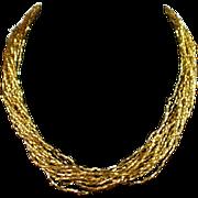SALE Retro Multi Strand Gold Glass Tube Beads Torsade Necklace