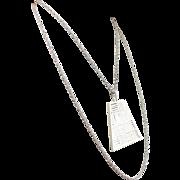 1960s Crown Trifari White Enamel Double Strand Pendant Necklace