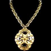 SALE Large Bold Signed Crown Trifari Ornate Gold Tone Pendant Necklace