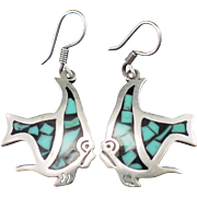 SALE Estate Mexican Sterling Mosaic Turquoise Inlay Fish Earrings