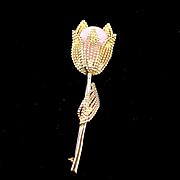 SALE Large Signed Kramer Flower Brooch with Molded Glass Center