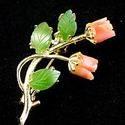 SALE Beautiful Vintage Carved Jade & Coral Rose Flower Brooch Pin