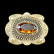 SALE Art Nouveau Large Brass and Amber Glass Sash Pin Brooch