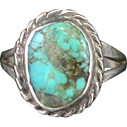 SALE Early Old Pawn Signed Turquoise Sterling Ring Size 4-1/2