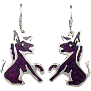SALE Estate Mexican Sterling Donkey or Burro Earrings with Inlay Sugilite and Hooks for Pierce