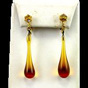 SALE Gorgeous Retro Blown Amber Glass Long Chandelier Earrings