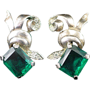 Art Deco Sterling Unique Large Emerald Green & Clear Rhinestone Screw Back Earrings