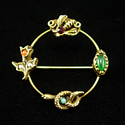Unique Vintage Snake Bee Flower and Seed Beads Circle Pin