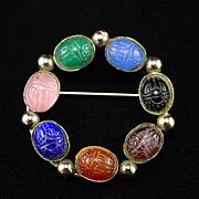 Unique Vintage Gemstone Scarab Circle Pin