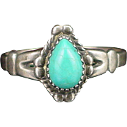 SALE Signed Bell Trading Post Sterling Turquoise Ring Size 8-1/2
