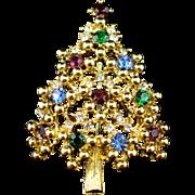 Vintage Eisenberg Rhinestone Christmas Tree Brooch Pin