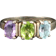 SALE Large Sterling Triple Stone Topaz Peridot and Amethyst Estate Ring Size 10