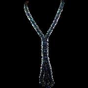 SALE Woven Glass Aurora Blue Beads Flapper Tassel Necklace Sautoir