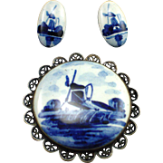 Signed 835 Silver Delft Holland Porcelain Windmill Brooch and Earrings