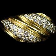 Large Heavy 14k Ornate Diamond Cluster Band Ring Size 6-1/2
