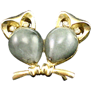 1960s Crown Trifari Glass Body Owls on a Branch Brooch Pin