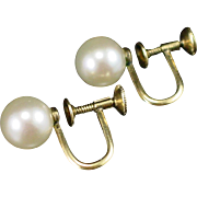 SALE Early Mikimoto 14k Cultured 8mm Pearl Screw Back Earrings
