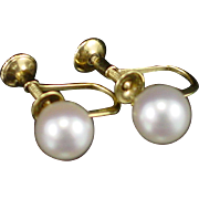 SALE Early 14k Mikimoto 7mm Cultured Pearl Screwback Earrings