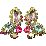 SALE Large Glitzy Weiss Multi Color Rhinestone Earrings