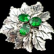 Signed Sandor Textured Leaf with Emerald Green Rhinestones Brooch