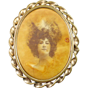 Unusual Art Deco Celluloid Photo Portrait Pin in Brass Rope Frame