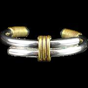 SALE Unique Large Bold Taxco Sterling Bangle Cuff Bracelet
