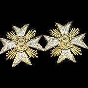 Large Unique Butler & Wilson Rhinestone Star Clip Earrings