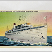 """Linen Tichnor Post Card of The Great Steel Ship """"City of Grand Rapids"""""""