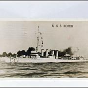 U. S. S. Roper DD-147 Real Photo Post Card Free Frank Circa 1944
