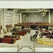 Southern Pacific Depot Waiting Room Los Angeles Post Card