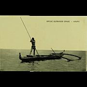 Hawaii and South Seas Curio Co. Post Card of Native Outrigger Canoe