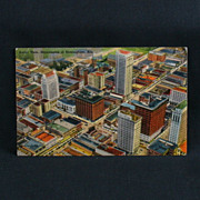 Birmingham Alabama Aerial View of Skyscrapers Linen Tichnor Card