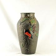 "9"" Indiana Glass Bird on Grape Goofus Vase"