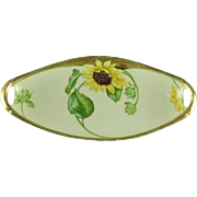 SALE Hand Painted Bavaria Celery Dish With Sunflowers  (SALE)