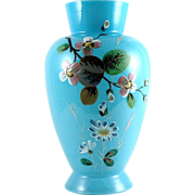 SALE Victorian Bristol Glass Vase Hand Painted