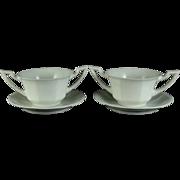 Vignaud Porcelain Limoges Onion Soup Bowls and Saucers