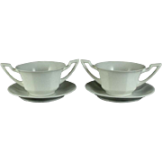 SALE Vignaud Porcelain Limoges Onion Soup Bowls and Saucers
